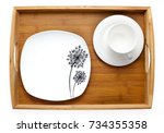 ceramic tableware plate tray... | Shutterstock . vector #734355358