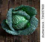 fresh savoy cabbage | Shutterstock . vector #734357800