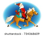 santa with gifts riding on horse | Shutterstock .eps vector #734368609