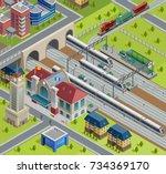 city railway terminal track...   Shutterstock . vector #734369170