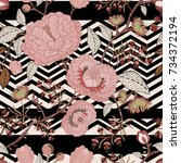 floral seamless pattern with... | Shutterstock .eps vector #734372194