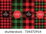 christmas lumberjack seamless... | Shutterstock .eps vector #734372914