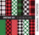 xmas green  red  black and... | Shutterstock .eps vector #734372920