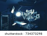 surgical room in hospital with... | Shutterstock . vector #734373298