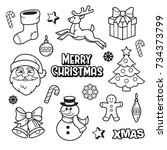 merry christmas patches... | Shutterstock .eps vector #734373799