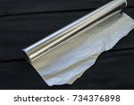 aluminum foil kitchen tools and ... | Shutterstock . vector #734376898