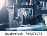 surgical room in hospital with... | Shutterstock . vector #734378278