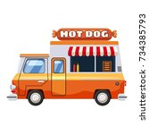 hot dog van mobile snack icon.... | Shutterstock . vector #734385793