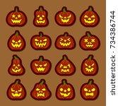 carving face halloween pumpkin... | Shutterstock .eps vector #734386744