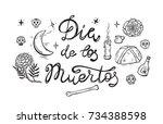 mexico. day of the dead. dia de ... | Shutterstock .eps vector #734388598