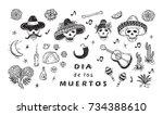 mexico vector set. dia de los... | Shutterstock .eps vector #734388610