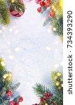 christmas snow background. | Shutterstock . vector #734393290