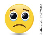 crying emoticon with big eyes... | Shutterstock .eps vector #734394886