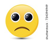 sad emoticon. sorrowful emoji... | Shutterstock .eps vector #734394949