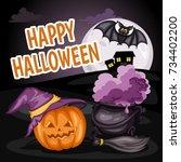 happy halloween cartoon... | Shutterstock .eps vector #734402200