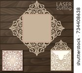 die laser cut wedding card... | Shutterstock .eps vector #734408638