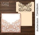 die laser cut wedding card... | Shutterstock .eps vector #734408644