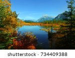 scenic vermilion lakes area at... | Shutterstock . vector #734409388