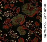 vector seamless nature pattern. ... | Shutterstock .eps vector #734410480