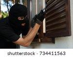 robbery or burglary. break in... | Shutterstock . vector #734411563