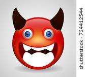evil emoji. isolated vector...   Shutterstock .eps vector #734412544