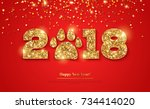 2018 happy new year greeting... | Shutterstock .eps vector #734414020