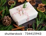 christmas gift on the antique... | Shutterstock . vector #734415943
