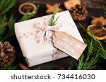 christmas gift on the antique... | Shutterstock . vector #734416030