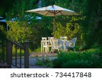 secluded table with chairs and... | Shutterstock . vector #734417848