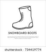 outline symbol for snowboard... | Shutterstock .eps vector #734419774