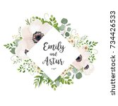 vector floral wedding invite... | Shutterstock .eps vector #734426533