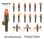 set of business arab woman... | Shutterstock .eps vector #734427394