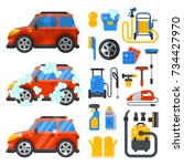 car washing service clean tools ... | Shutterstock .eps vector #734427970