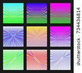 set of abstract multicolored... | Shutterstock . vector #734436814