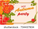 autumn party poster with... | Shutterstock . vector #734437834