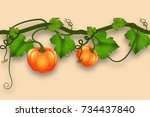 pumpkin whip with leaves and... | Shutterstock . vector #734437840
