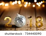 new year 2018 celebration new... | Shutterstock . vector #734440090