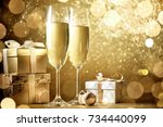 new year celebration with... | Shutterstock . vector #734440099