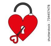 heart unlocked symbol | Shutterstock .eps vector #734457478