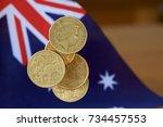 australian dollar coins falling ...   Shutterstock . vector #734457553