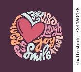 love. kiss. laugh. joy. trust....   Shutterstock .eps vector #734460478