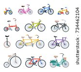 retro bike vintage vector old... | Shutterstock .eps vector #734462104
