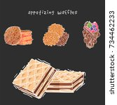 different wafer cookies waffle... | Shutterstock .eps vector #734462233