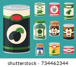 collection of various tins... | Shutterstock .eps vector #734462344