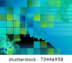 tropical nighttime cityscape.... | Shutterstock .eps vector #73446958