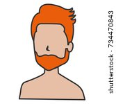 young man shirtless avatar... | Shutterstock .eps vector #734470843