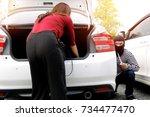 crime concept   criminals... | Shutterstock . vector #734477470