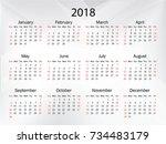 calendar for 2018 on white... | Shutterstock .eps vector #734483179