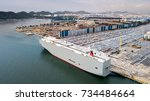 new cars ready to ship in the...   Shutterstock . vector #734484664