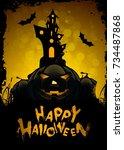 halloween greeting card....   Shutterstock .eps vector #734487868